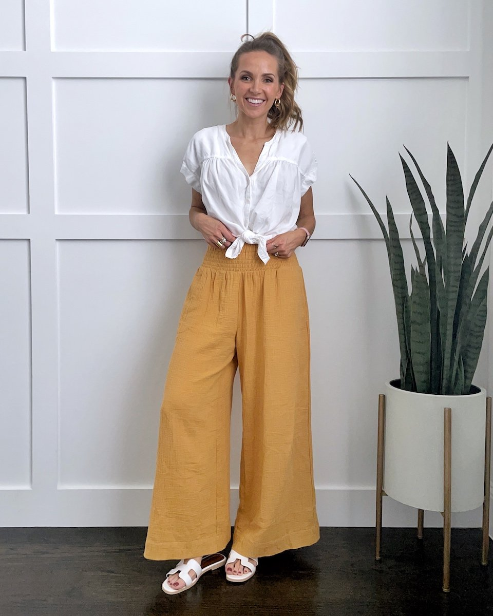 wide leg pants with white tie front shirt