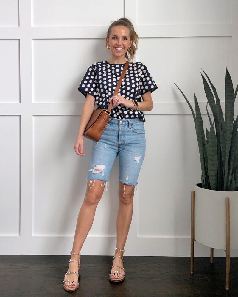 polka dot top with denim shorts