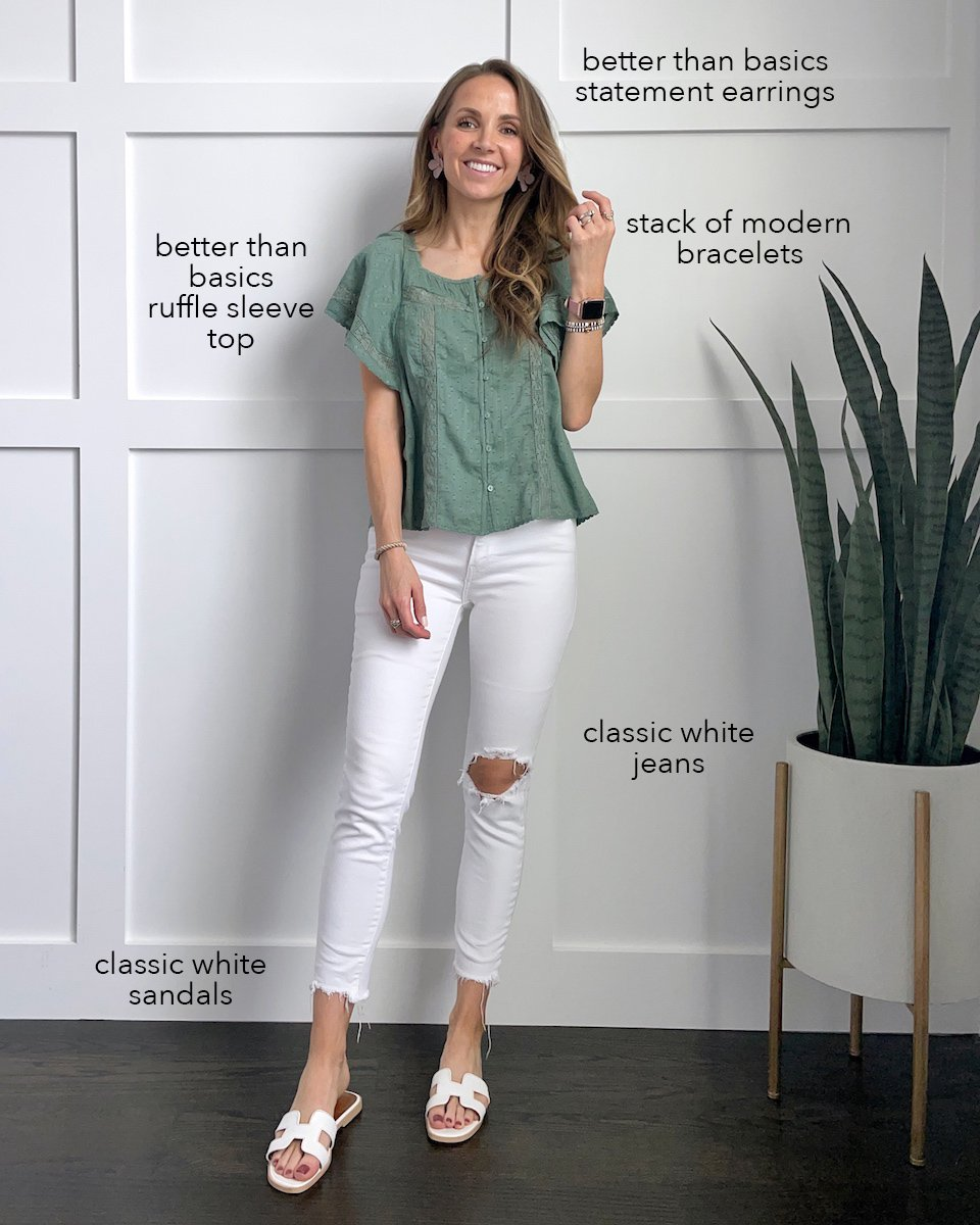 ruffle sleeve olive top with white jeans