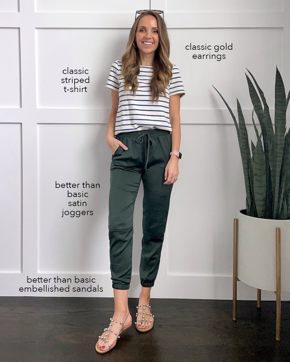 striped madewell tee and satin joggers