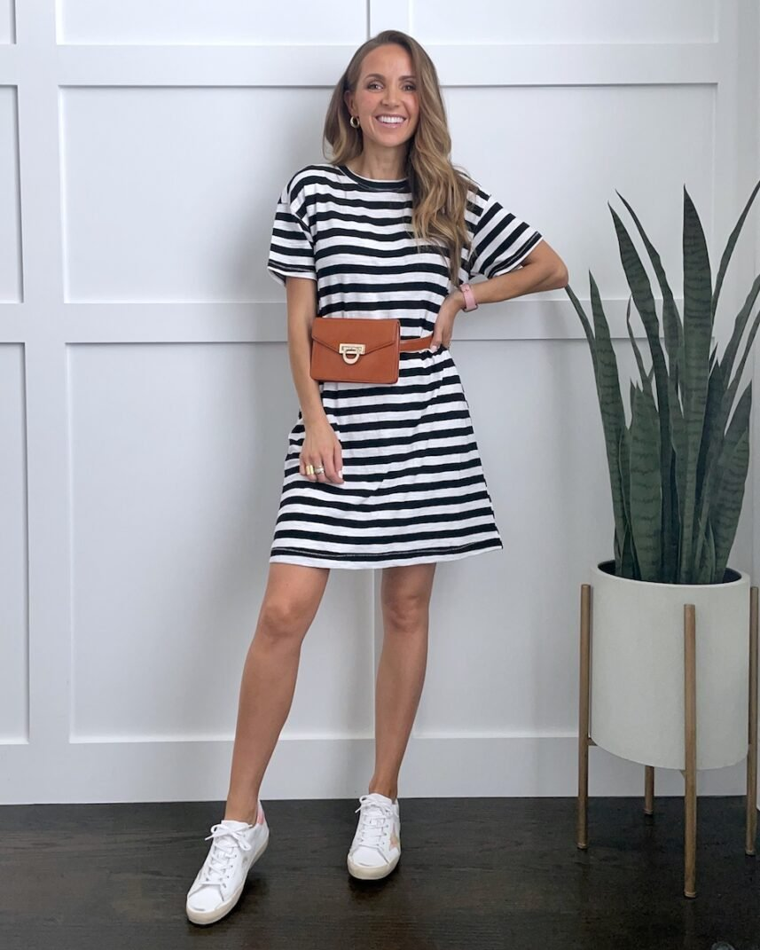 t-shirt dress outfits with golden goose sneakers and fanny pack