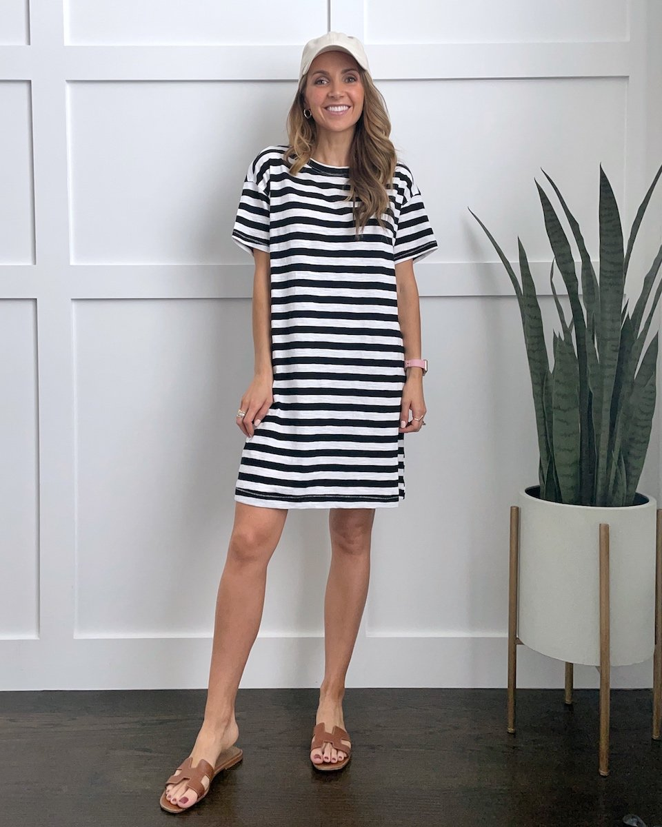 t-shirt dress outfits: striped t-shirt dress with hat and sandals