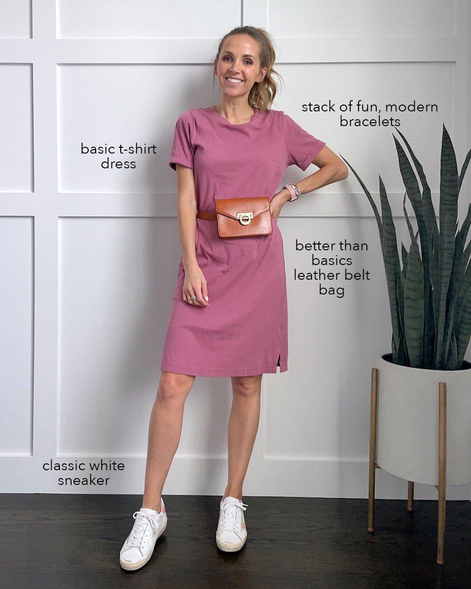 t-shirt dress with belt bag