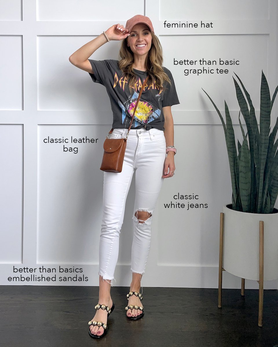 graphic tee with white jeans