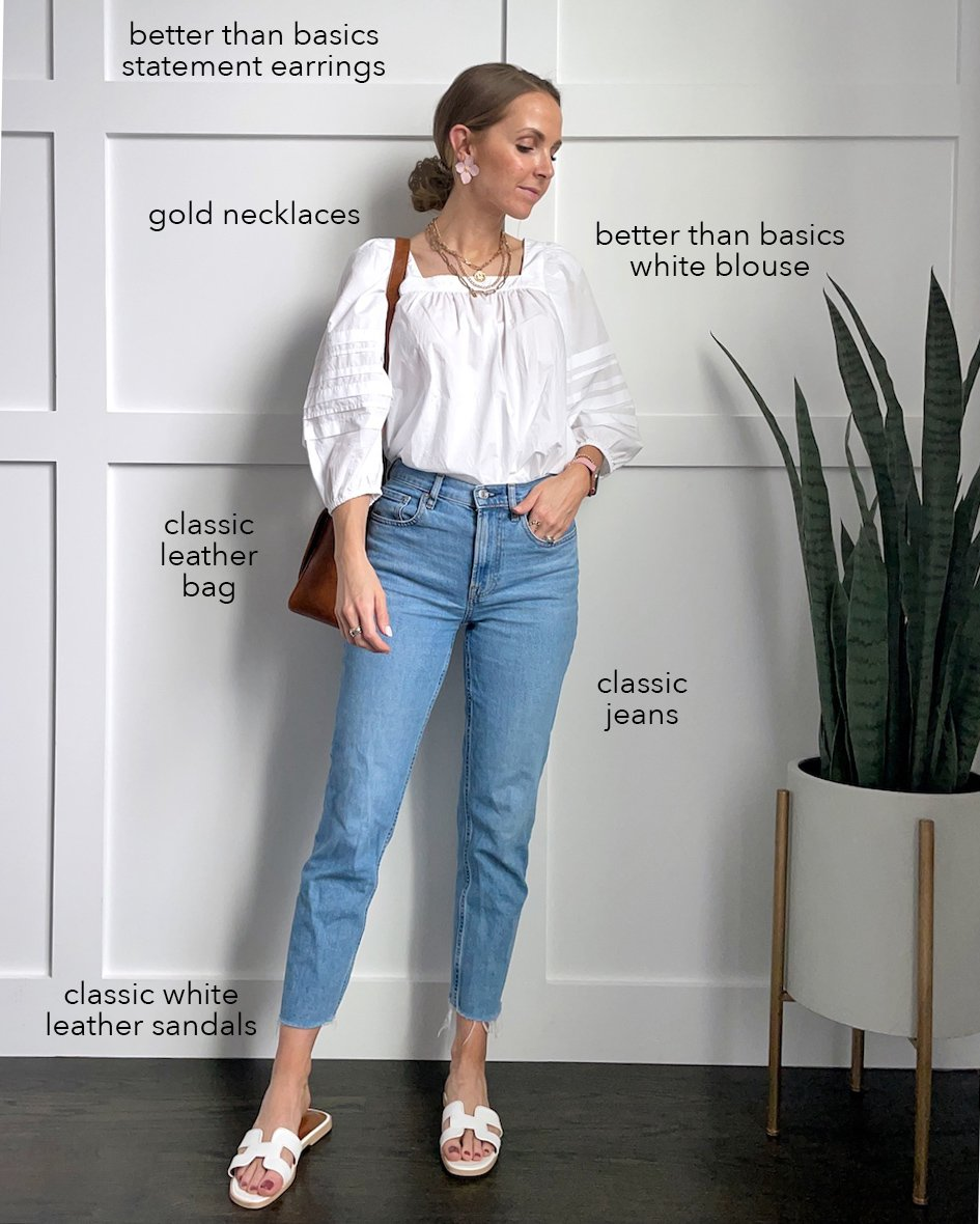 white blouse with jeans