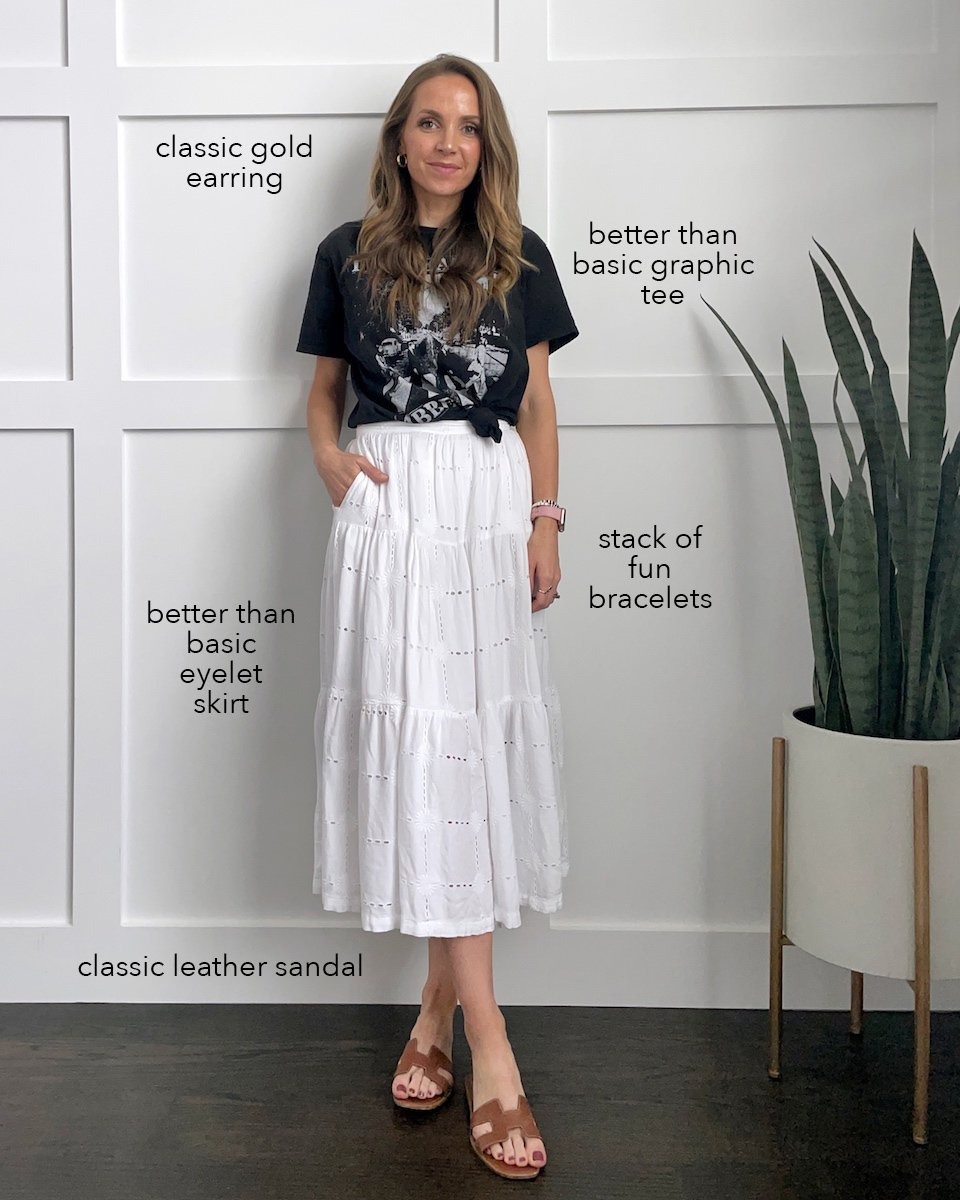 graphic tee with eyelet skirt