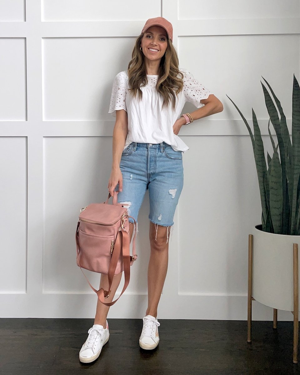 bermuda shorts with white blouse