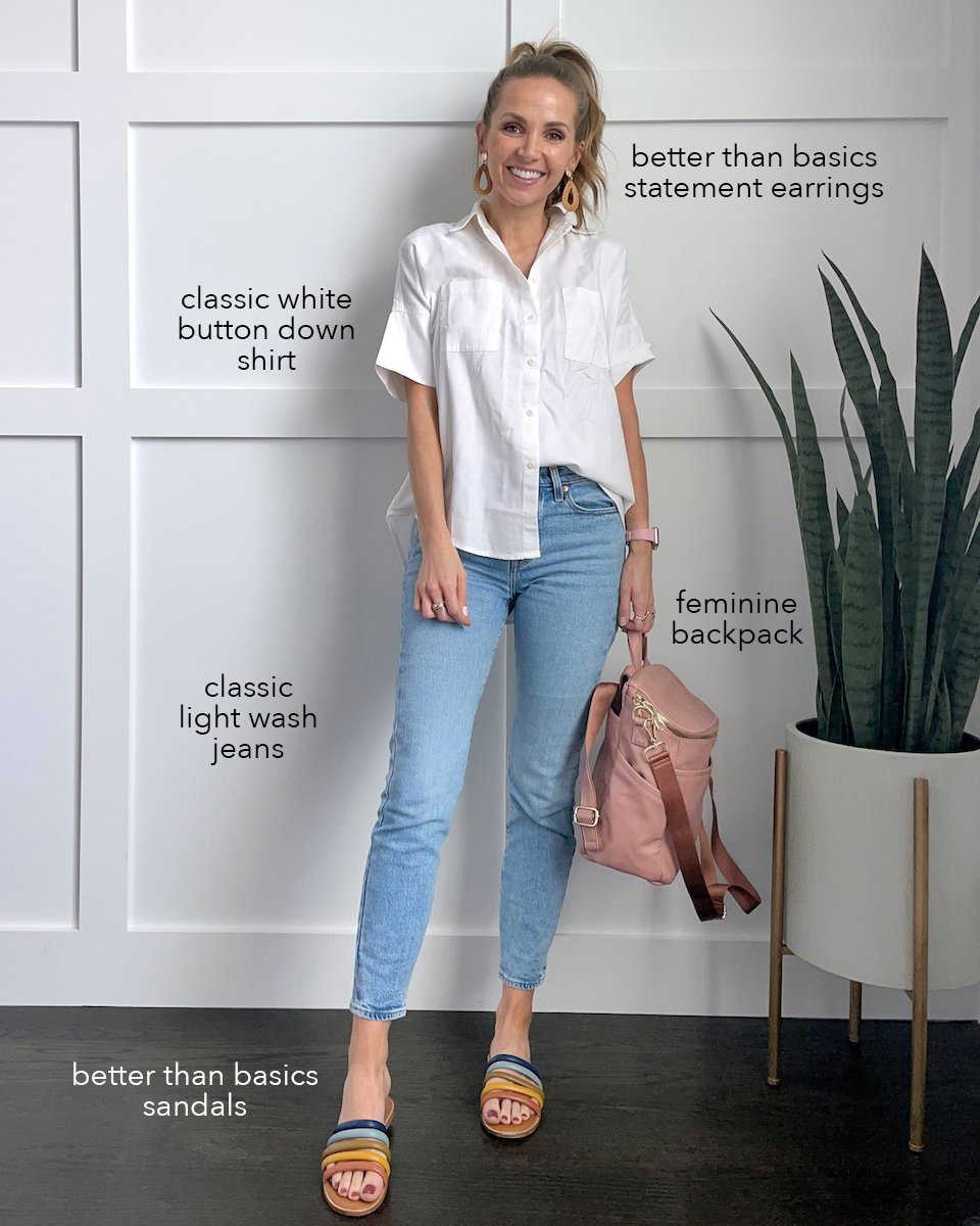 white top with rainbow sandals and lightwash jeans