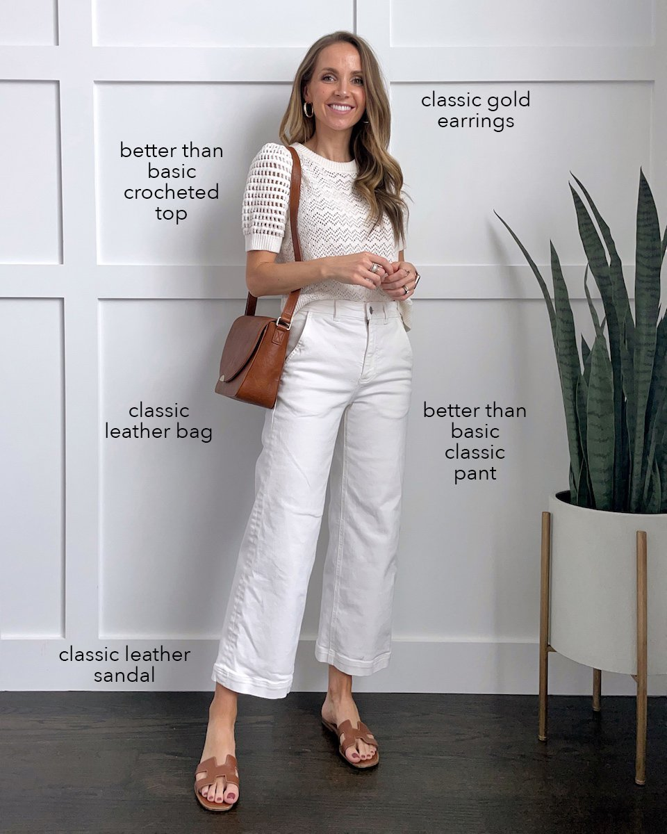 white wide leg pants and short sleeve sweater