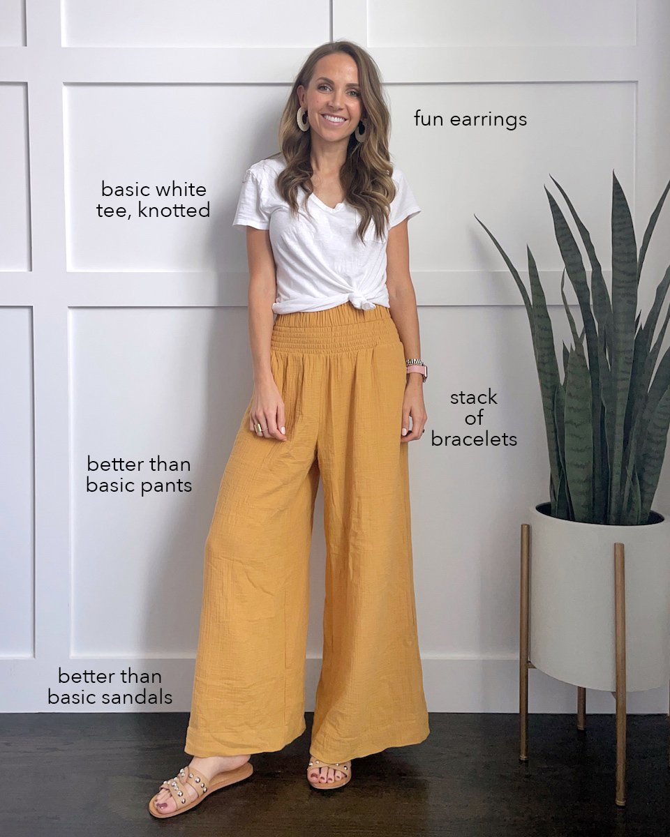 wide leg pants and white tee