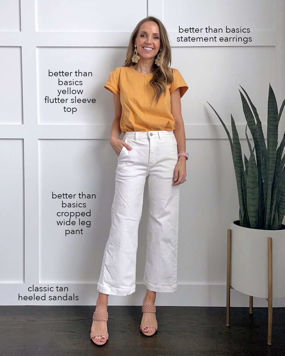 yellow top with white wide leg pants