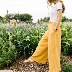 yellow wide leg pants