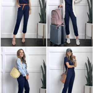 collage with 4 jumpsuit outfits