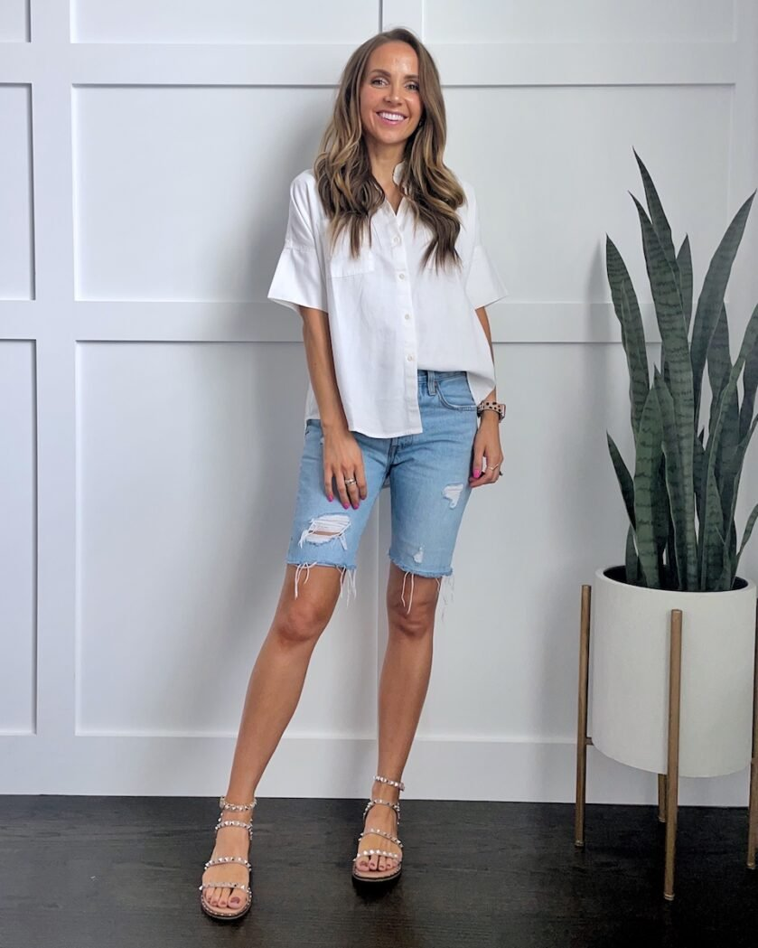 bermuda shorts with short sleeve button up