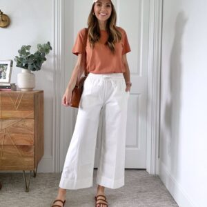 white wide leg pants and orange tee