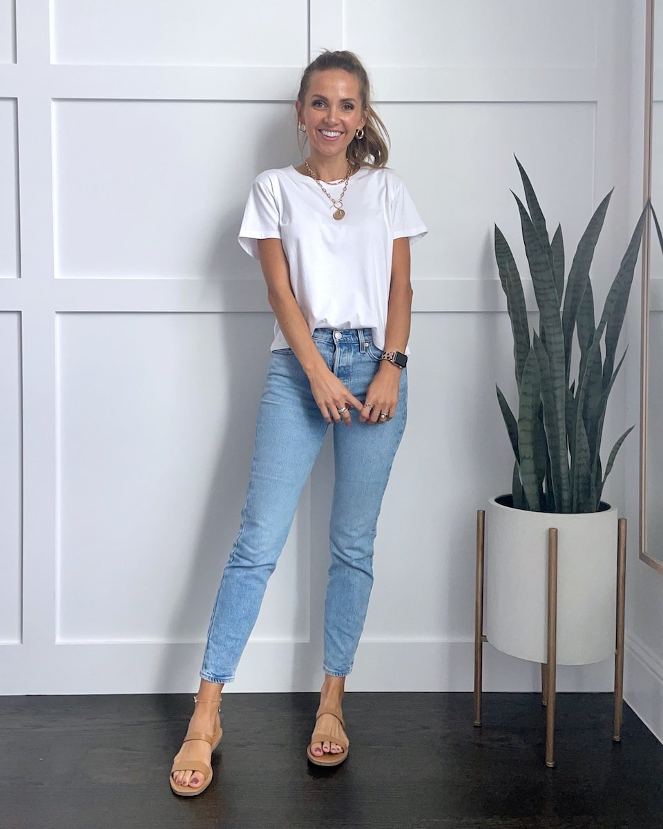 white tee and jeans outfit