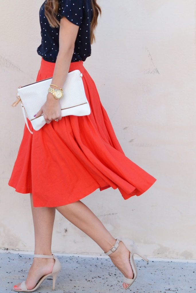 red skirt navy top