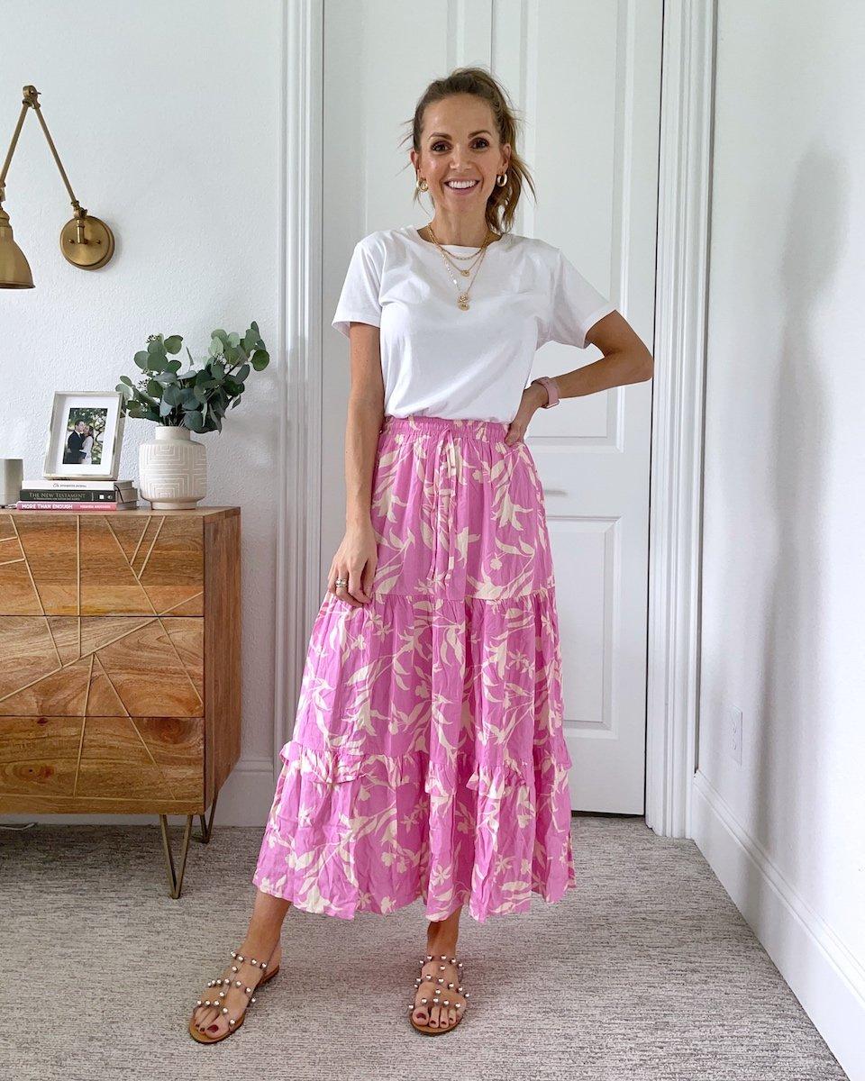 maxi skirt and white tee