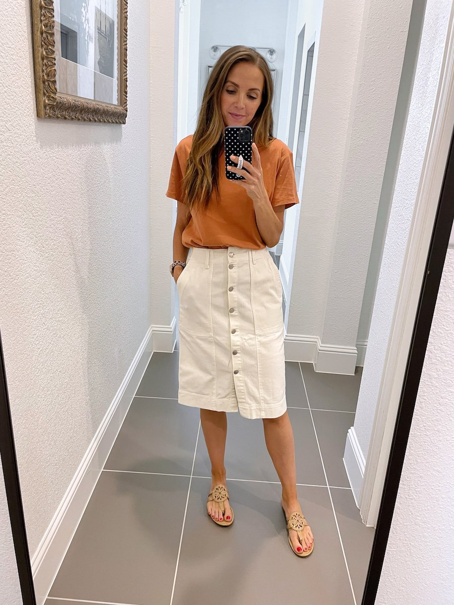 orange tee and button up skirt from walmart