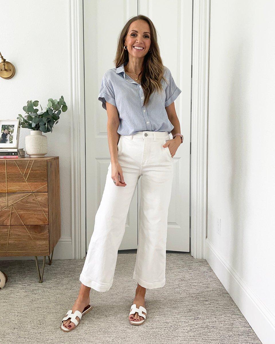 white pants and tee