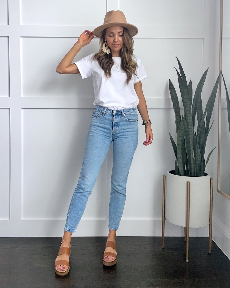 WHITE TEE AND JEANS OUTFIT STATEMENT EARRINGS