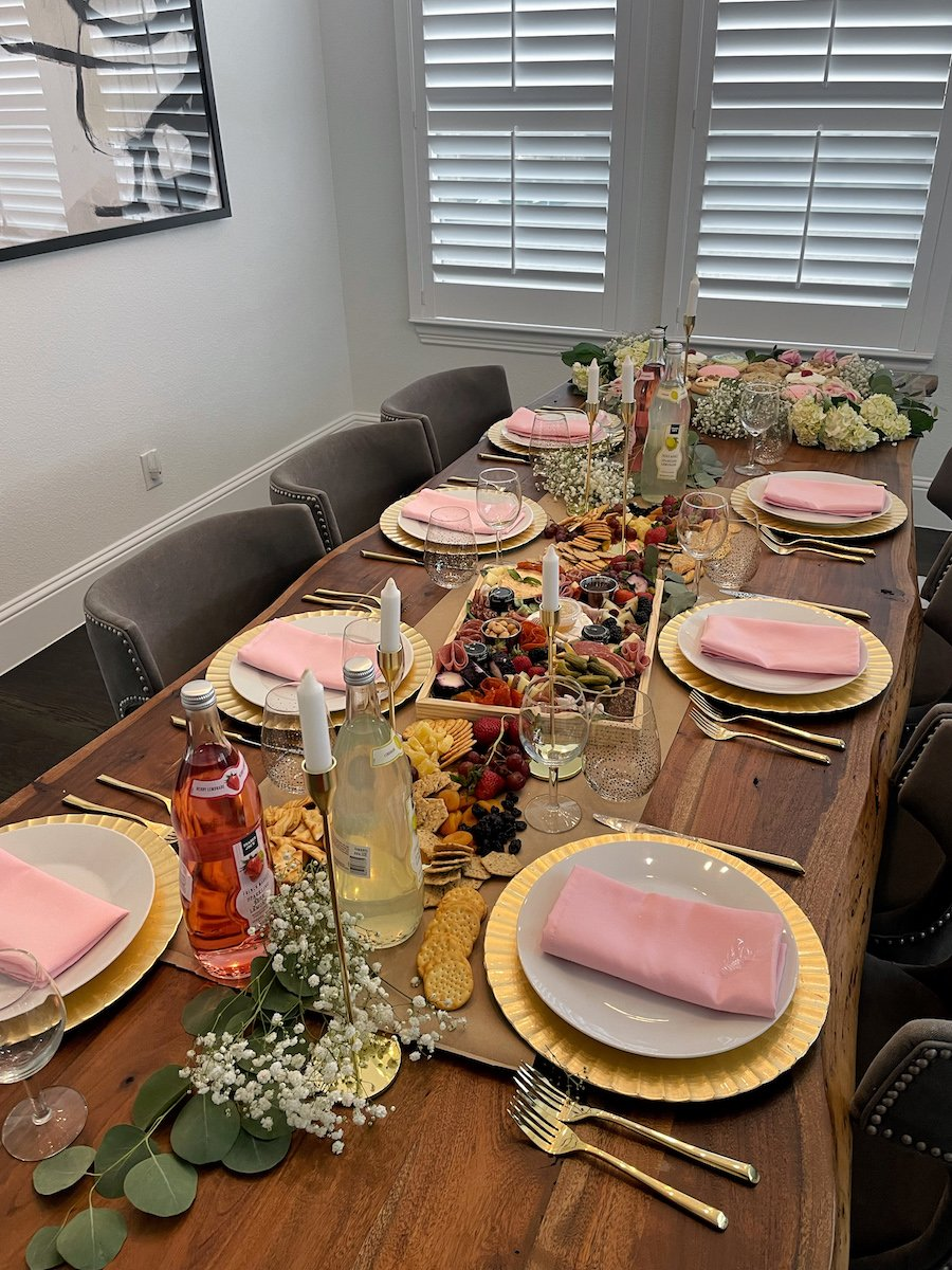 birthday dinner party with charcuterie spread