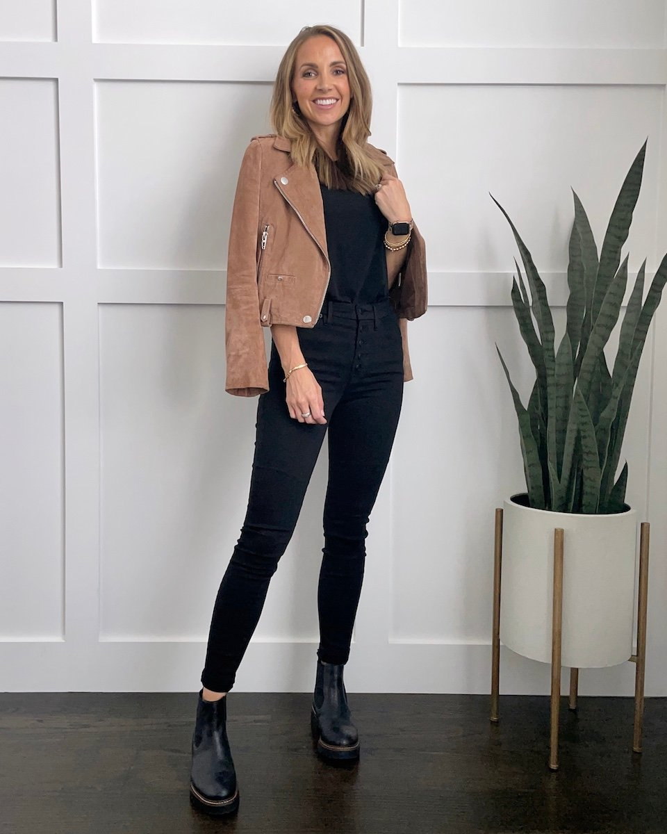 black top for date night with suede jacket
