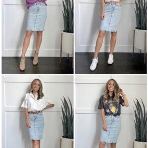 4 ways to wear a denim skirt