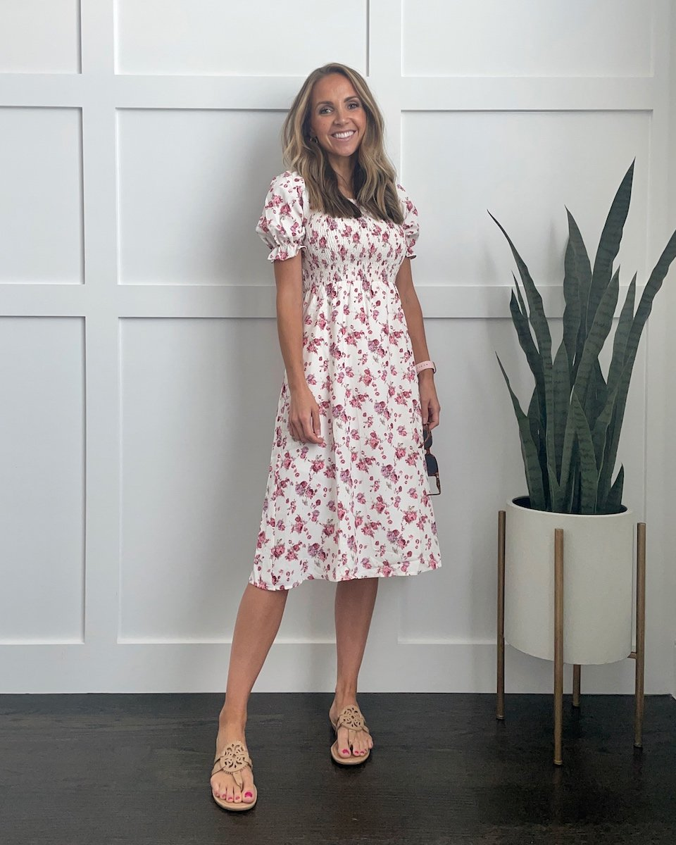 Floral square neck puff sleeve dress