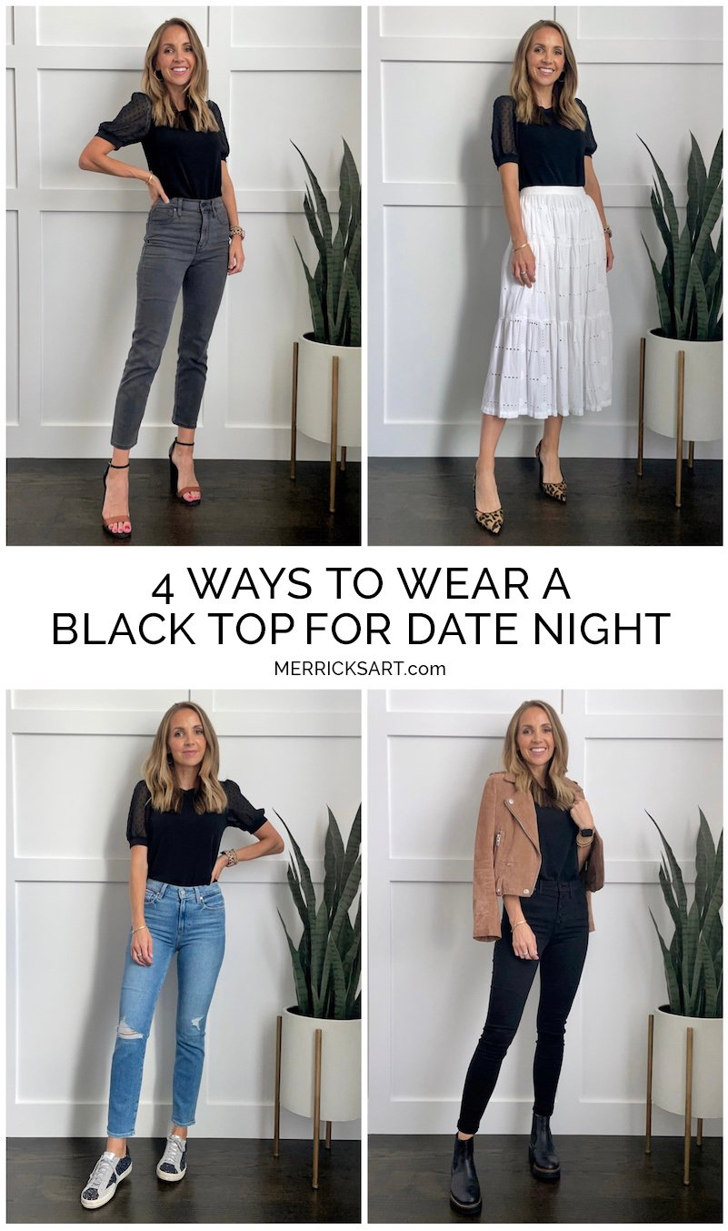 date night outfits with a black top