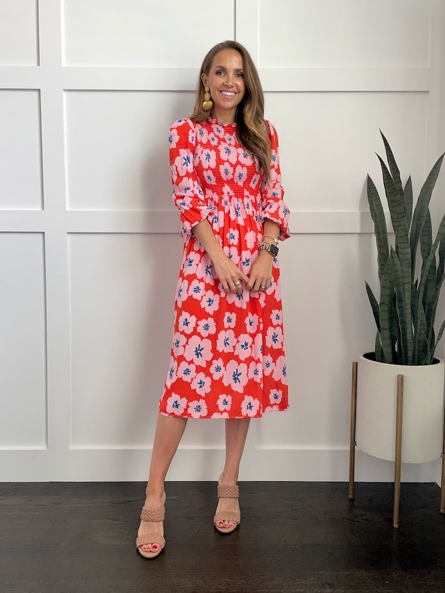 floral dress with heeled sandals