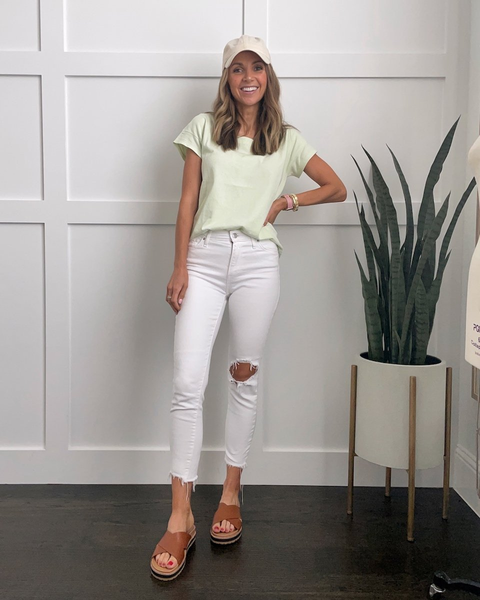 mint green tee with madewell sandals