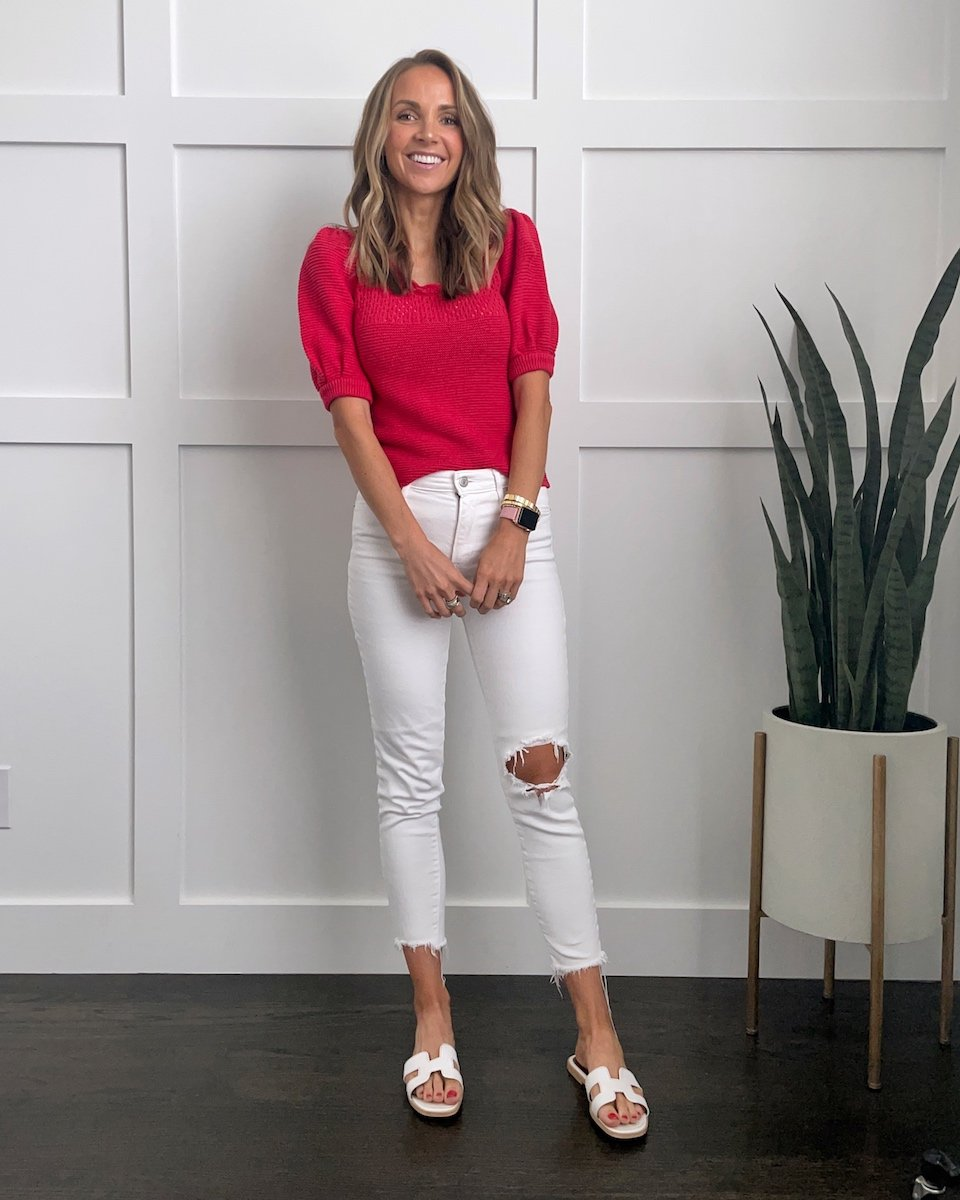 white jeans outfit with red short sleeve sweater