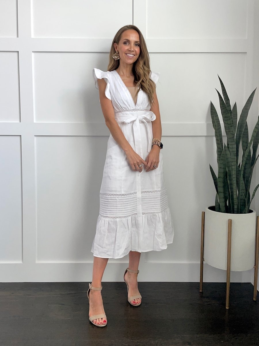 white reformation midi dress with flutter sleeves