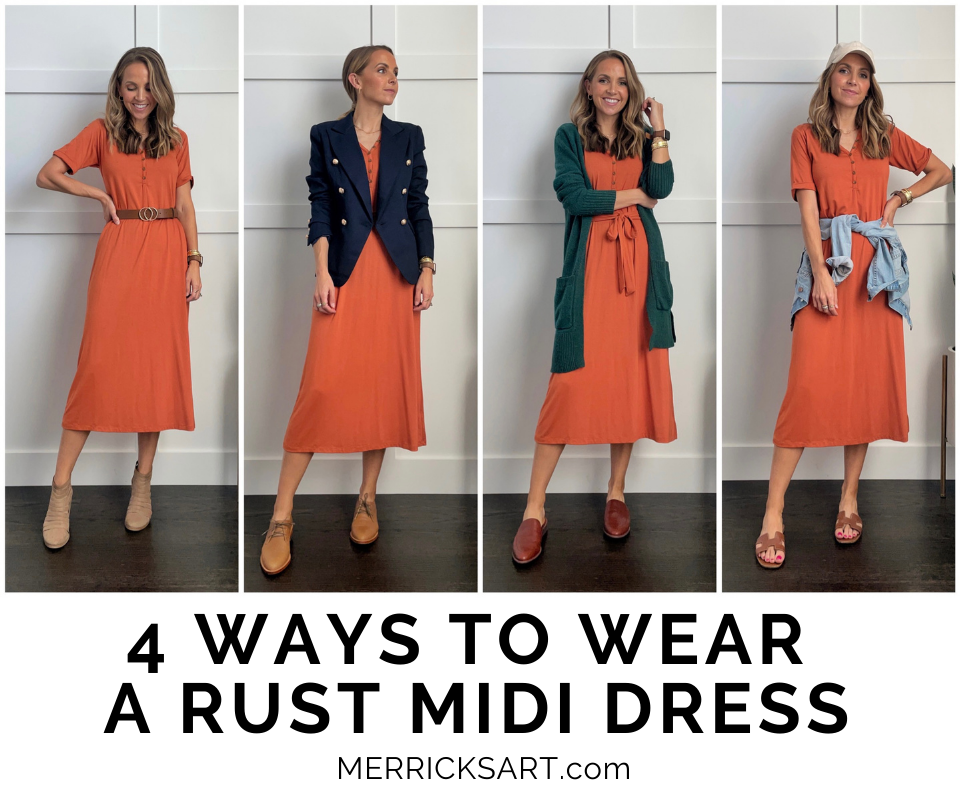 merrick white collection rust dress outfit ideas