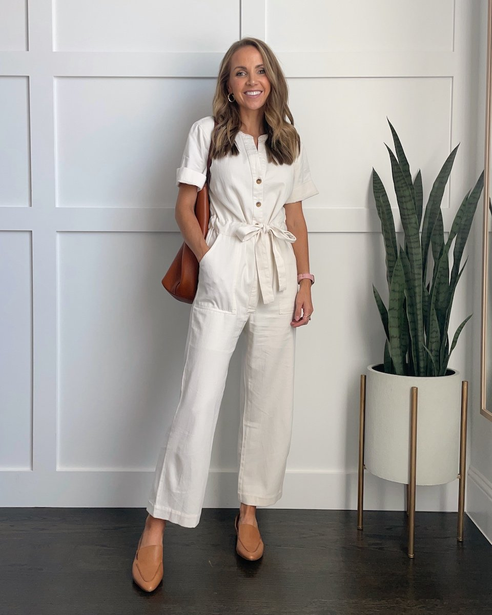 loafers with white jumpsuit
