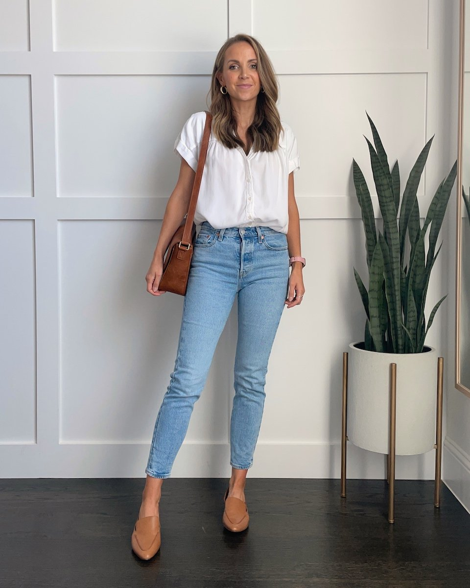 madewell loafers with white blouse and light wash jeans