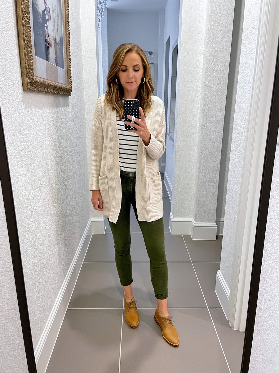 pants with cardigan and flats