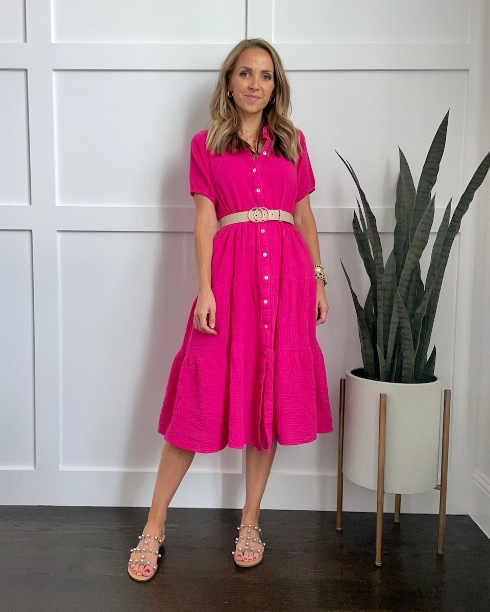 studded sandals with pink dress