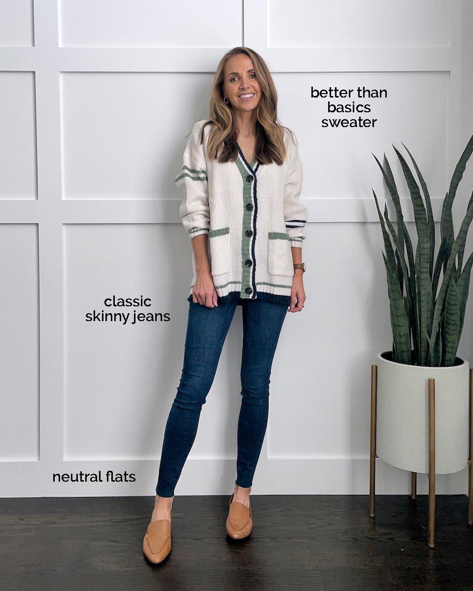 varsity cardigan and jeans