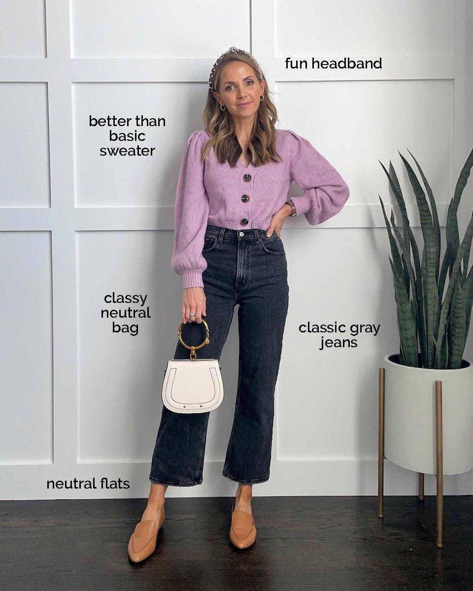 purple cardigan gray jeans