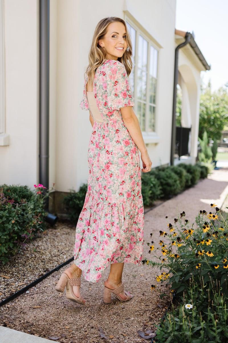 nude underlayer floral dress