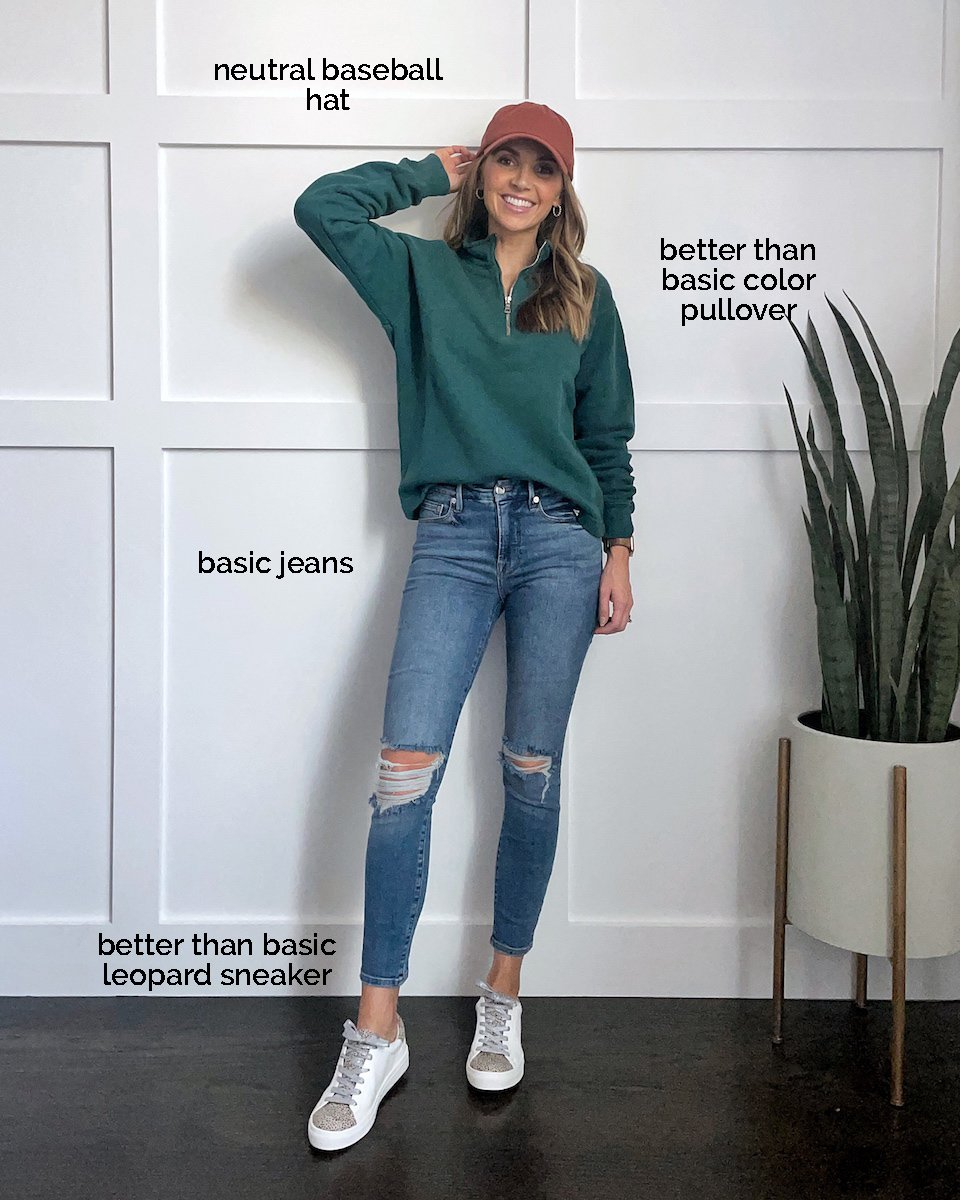 green pullover rust hat shoes for fall