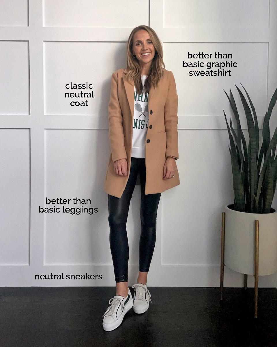 leather leggings graphic sweatshirt, coat