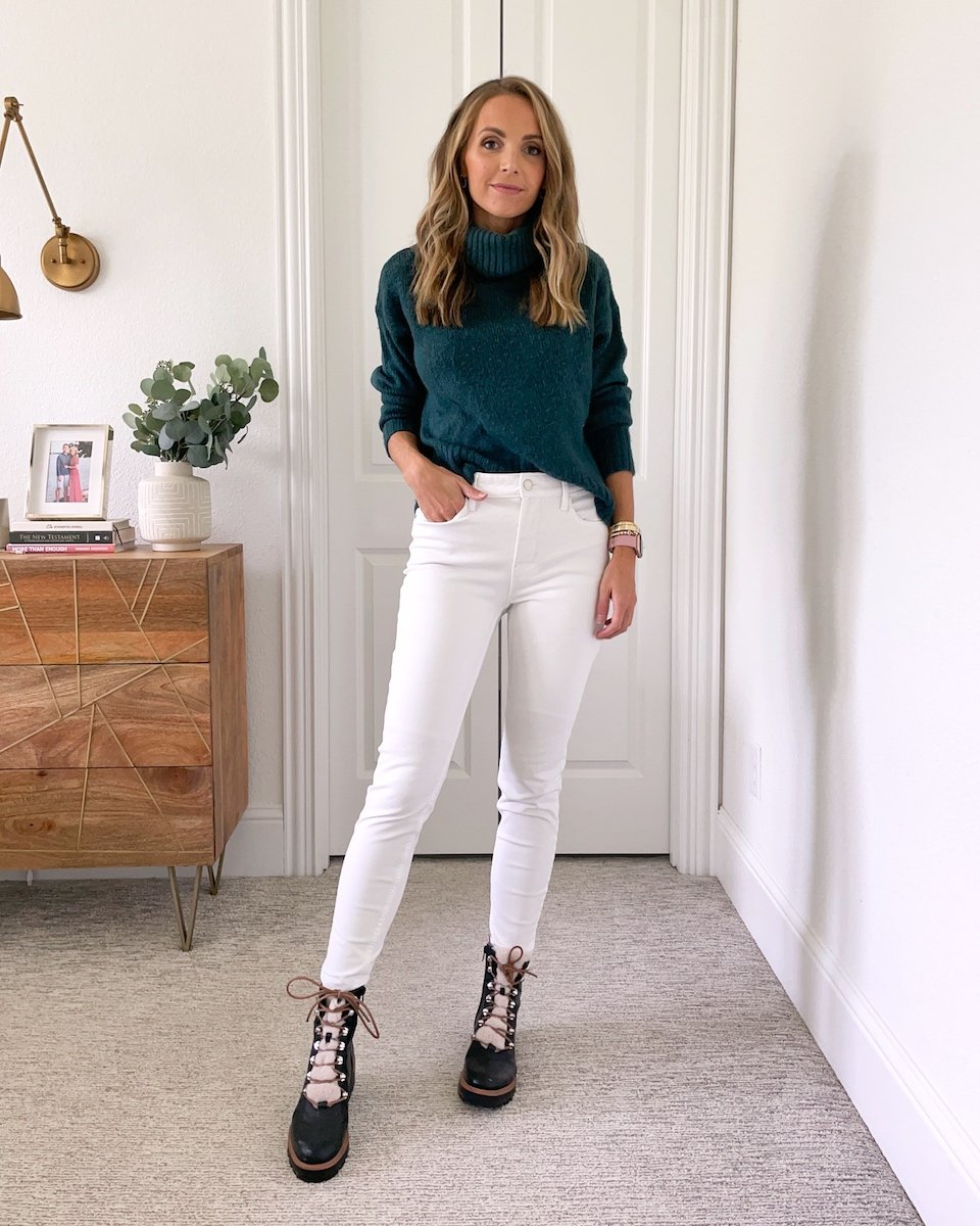 white pants with boots