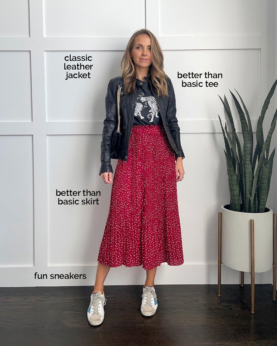 midi skirt graphic tee leather jacket