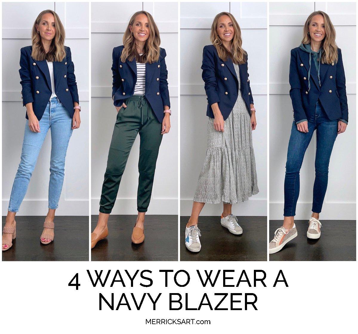 how to wear a navy blazer