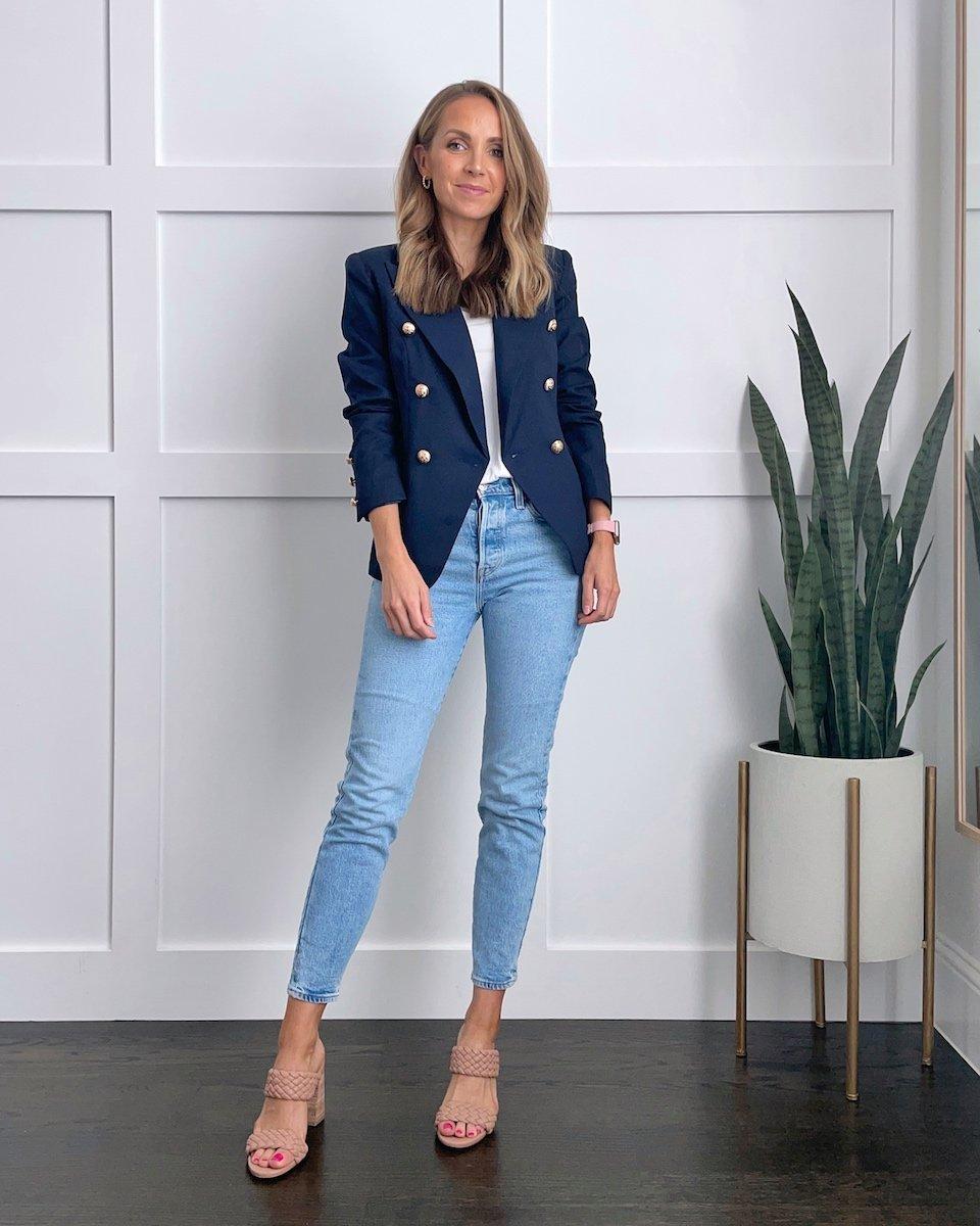 navy blazer with light wash jeans