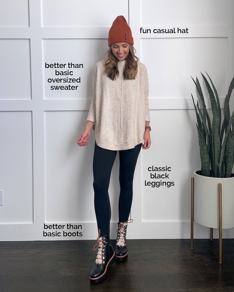 oversized sweater leggings shoes for fall