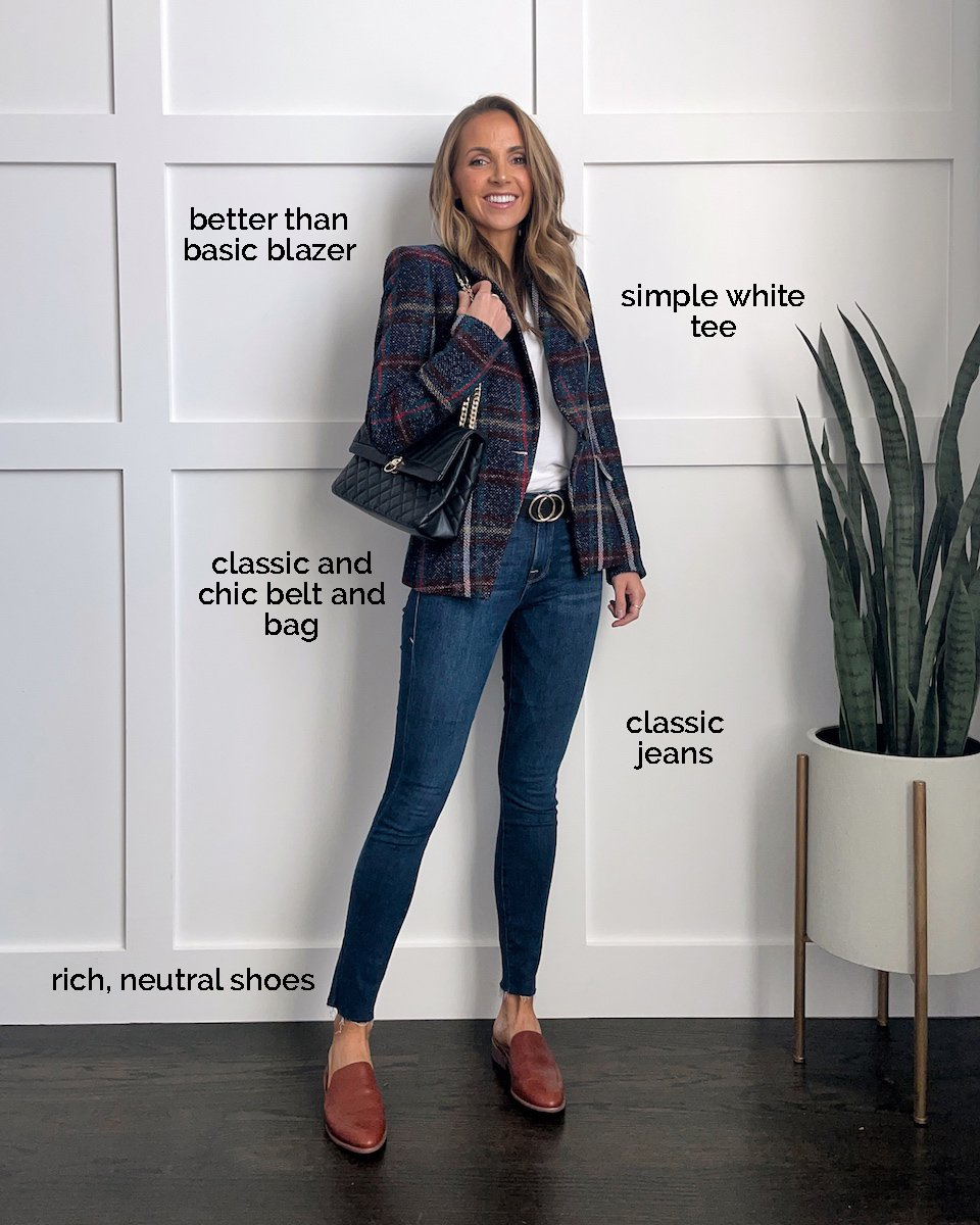 plaid blazer skinny jeans